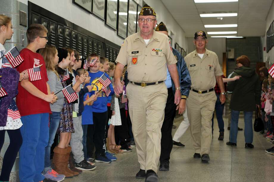 "Ubly students honored area veterans Monday morning with a program to say ""thank you"" for their dedication and service. Photo: Bradley Massman/Huron Daily Tribune"