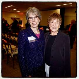 UOP President Pamela Eibeck (left) with Gina Moscone. Oct. 25, 2018