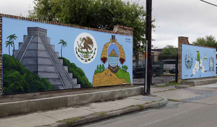 "The mural ""Instrospection of Self Reflection"" by artist Sylvia Blanco at 5833 Clarewood Dr., one of the 12 murals sponsored by CHAT on Thursday, Oct. 25, in various Gulfton neighborhoods Houston. Photo: Michael Wyke, Houston Chronicle / Contributor / © 2018 Houston Chronicle"