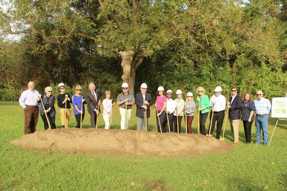 Cullinan Park Conservancy, with the city of Sugar Land, hosted a groundbreaking for the first phase of improvements at the park. From left are: Steve Porter, Ann Hamilton, Emily Todd, Gay Thompson, Bob Richter, Bridget Yeung, Mike Dobert, Gary Tuma, Carol McCutcheon, Manish Seth, Betty Baitland, Cee Cee Parker, Nancy Olson, John Garland, Joe Zimmerman, Jennifer Lane and Jimmy Thompson.