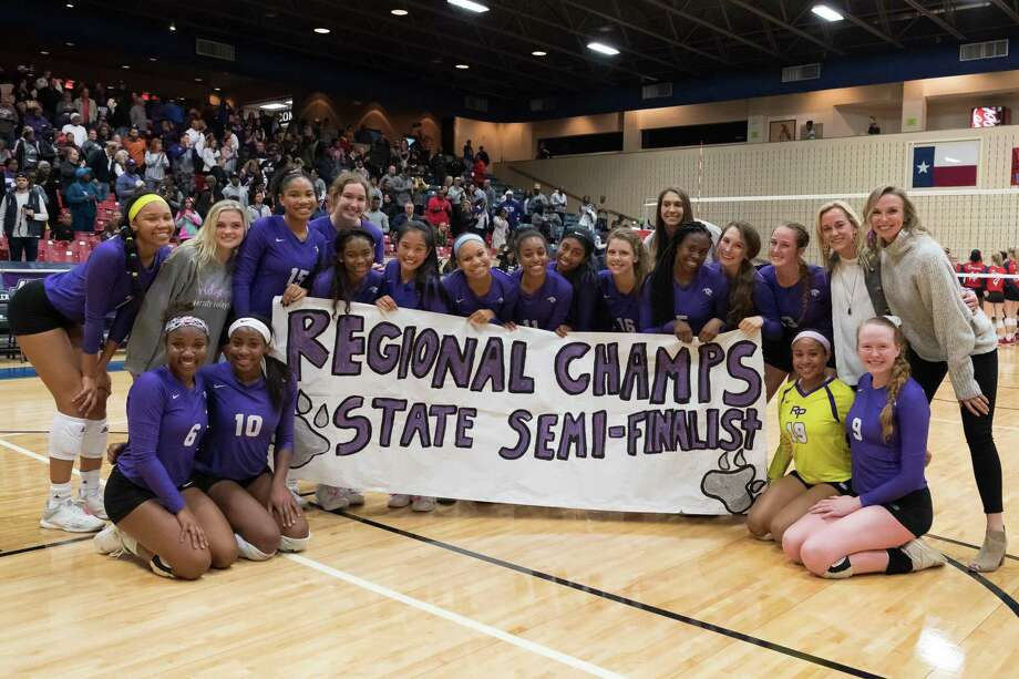 The Ridge Point Panthers pose for a photo after defeating the Dawson Eagles in the Region III 6A Championship volleyball game on Saturday, Nov. 10, at Wheeler Field House in Sugar Land. Photo: Wilf Thorne / Contributor / © 2018 Houston Chronicle
