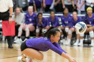 Britney Ong (2) of the Ridge Point Panthers returns a serve from the Dawson Eagles in a girls Region III 6A Championship volleyball game on Saturday, November 10, 2018 at Wheeler Field House in Sugar Land Texas.