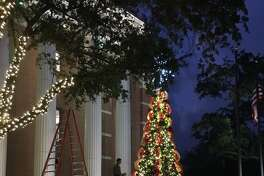 Contractors were decorating the east side of Katy City Hall,901 Ave. C,on Nov. 7 for the holidays.