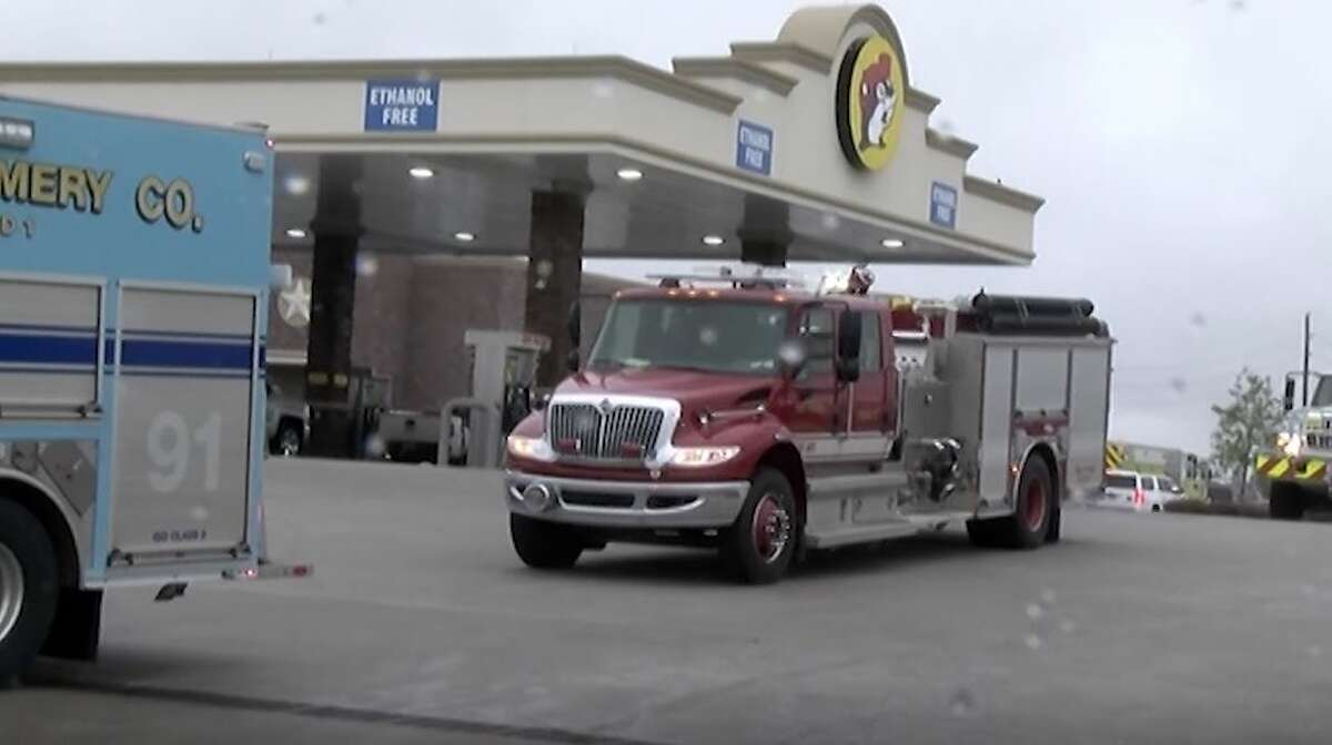 Crews from Needham and Waverly fire departments along with several other area departments met at the Buc-ee's in Katy Monday morning before heading to California.