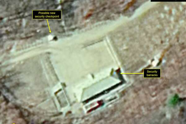 PUNGGYE-RI NUCLEAR TEST SITE, NORTH KOREA - OCTOBER 31, 2018. Figure 3b. Unidentified material removed but a small shed erected. (Photo DigitalGlobe/38 North via Getty Images)