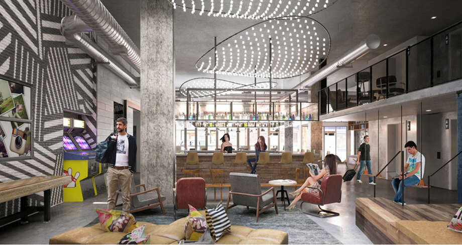 "Spaces like the lobby ""Living Room"" at the new Moxy in San Diego's Gaslamp Quarter will have to be redesigned for social distancing. Photo: Moxy Hotels"