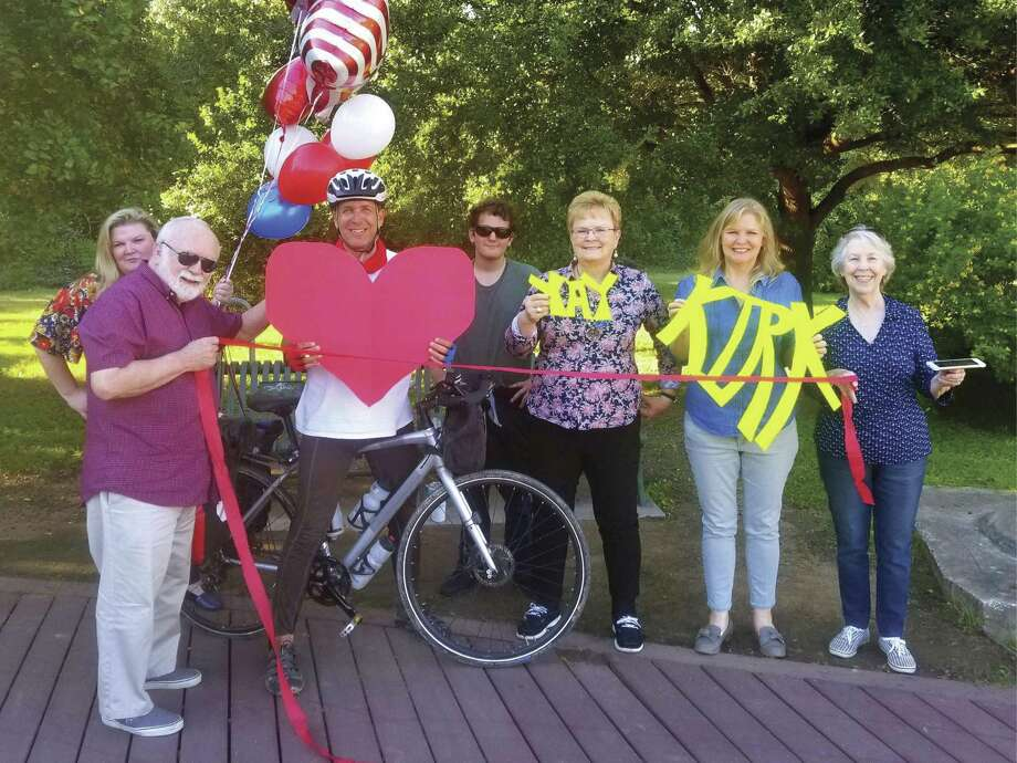 Recently, a former student of Armstrong Elementary and Willis High School graduate, Kirk Gillock, center with heart, finished a 4,250-mile solo cycling tour around America in the shape of a large heart to bring unity to the country.