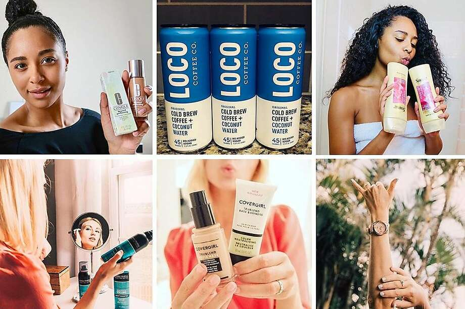 These images show some of the #sponsored content from the Instagram accounts of Alexis Baker and Haley Stutzman. Photo: Alexis Baker, Top Row; Haley Stutzman, Bottom Row