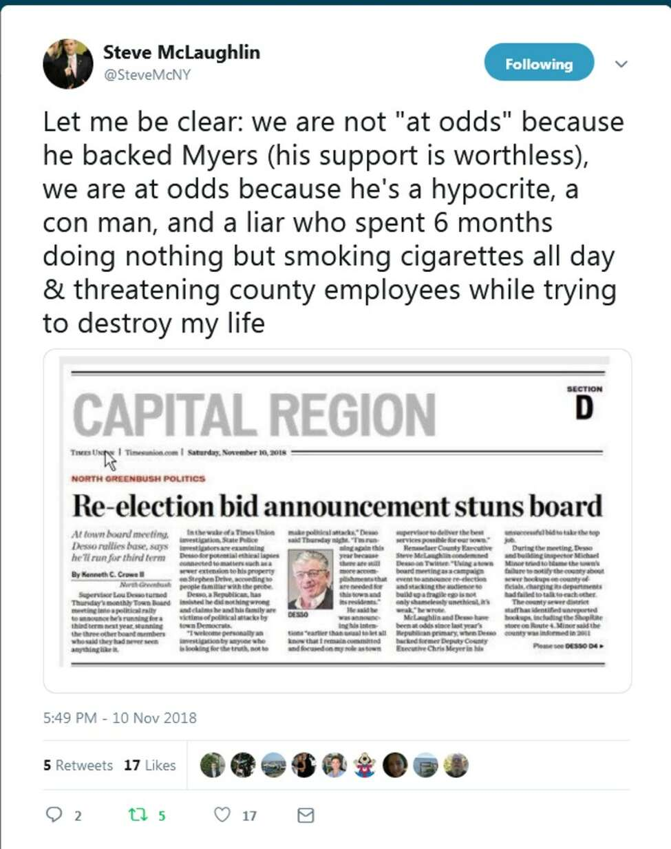 A screenshot of a tweet Rensselaer County Executive Steve McLaughlin wrote about North Greenbush supervisor Louis Desso on Friday, Nov. 9, 2018. (Twitter)