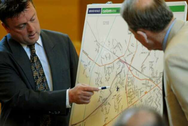 Defense witness Stephen Meyers, at left, points to a map of Delmar, while being questioned by attorney Terence Kindlon Monday. Photo: Michael P. Farrell