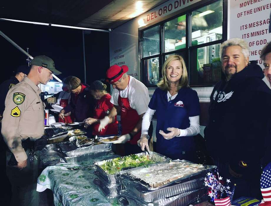 Guy Fieri visited Butte County on Saturday to lend a hand in feeding dozens of first responders taking a break from fighting the Camp Fire. Photo: Butte County Sheriff's Office