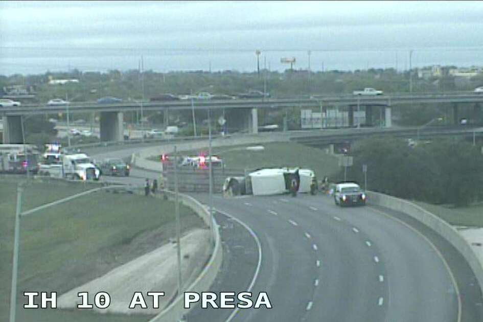 A rollover near Interstate 10 and South Presa slowed down traffic Monday afternoon.