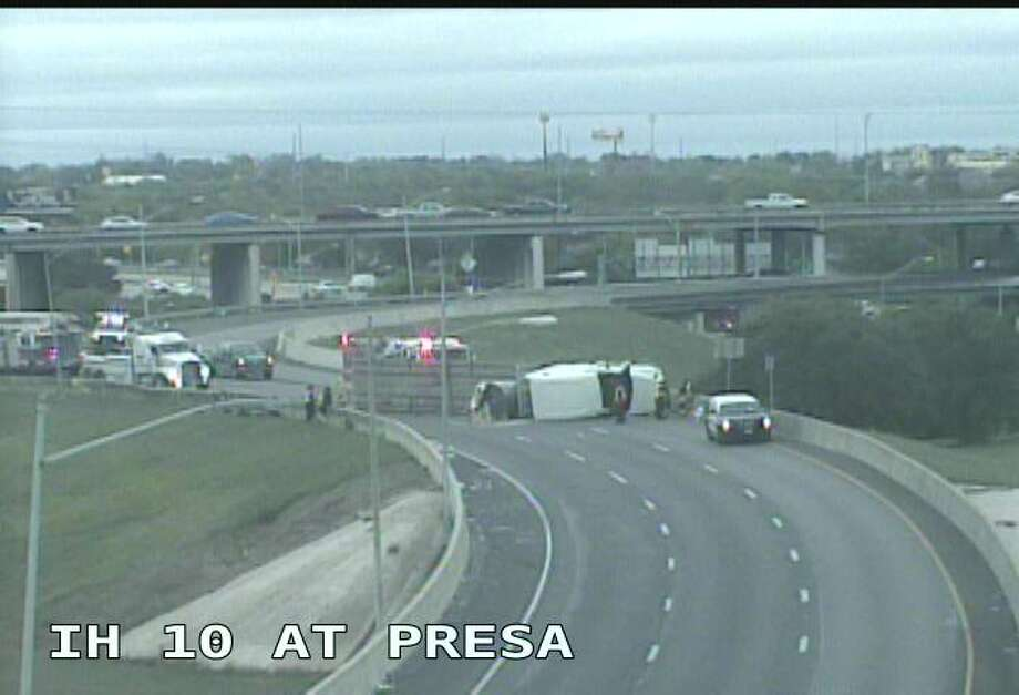 A rollover near Interstate 10 and South Presa slowed down traffic Monday afternoon. Photo: Courtesy Of Texas Department Of Transportation