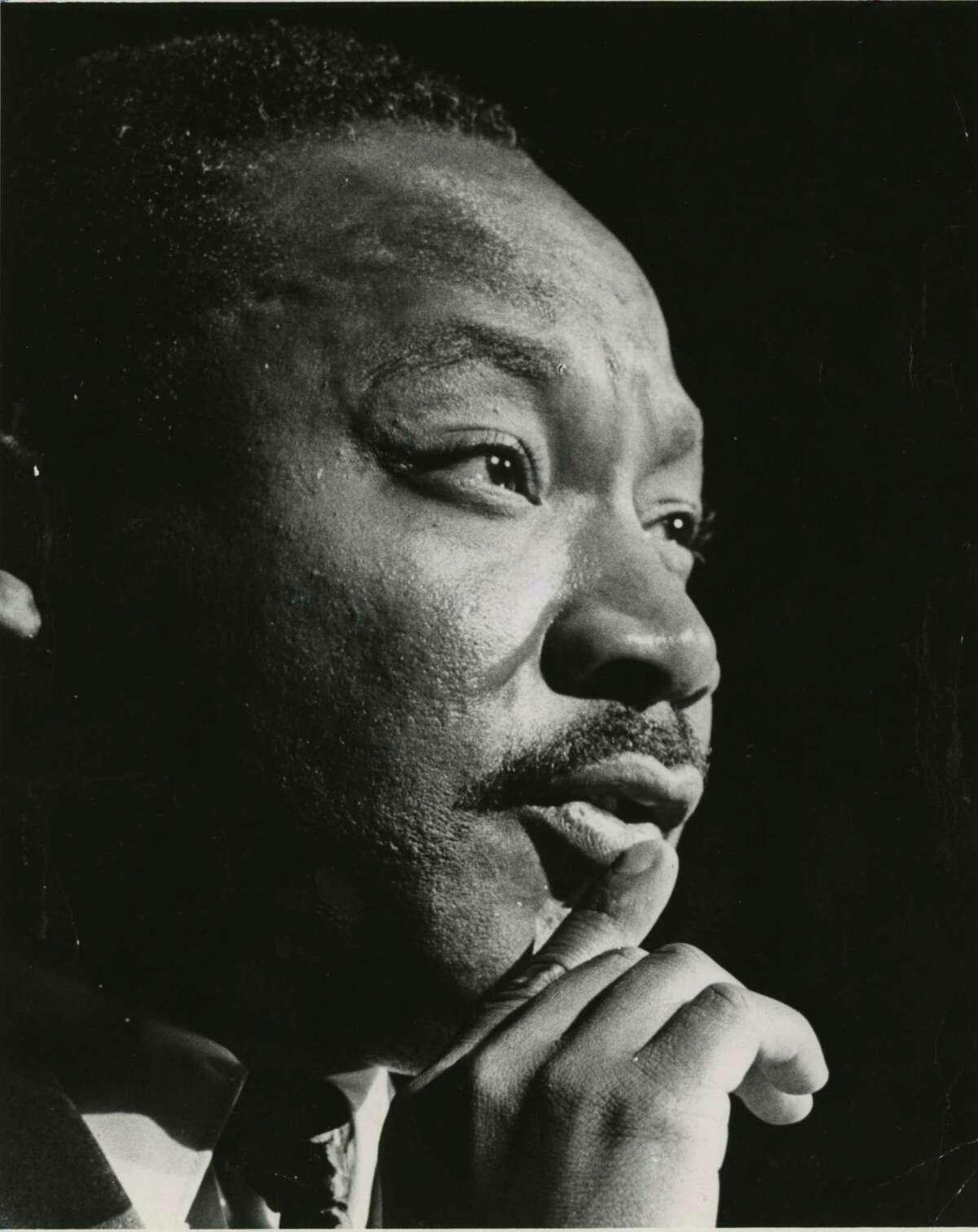 PHOTO FILED: MARTIN LUTHER KING JR. 10/17/1967 - Martin Luther King Jr. at the Sam Houston Coliseum, Oct 17, 1967 Blair Pittman / Houston Chronicle