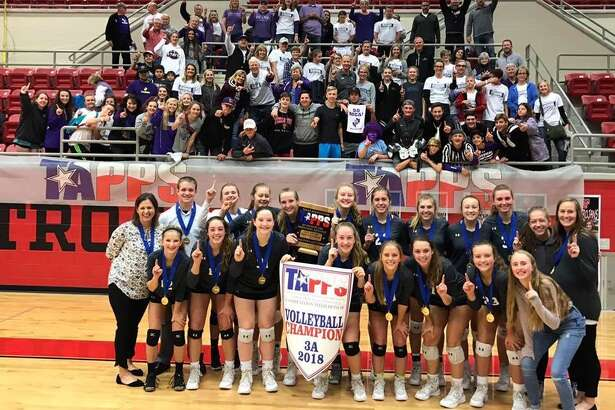 The Midland Classical Academy volleyball team won its first state championship Friday by defeating New Braunfels Christian Academy in five sets. Team members and coaches are coach Amie Miller, back row from left, coach Jared Nelson, Kacy Miller, Paytan Parham, Lizabelle Russell, Marin Casey, Emma Westfall, Elise Grigsby, Madison Hunter, Cammie Stokes, Abby Pendergrass and coach Lindsy Dunn, and Madelynn Marecle, front row from left, Grace Coco, Leia Beattie, Kenna Bayley, Jacqueline Copley, Jenny Coco, Kyler Kirk and manager Addison Todd.