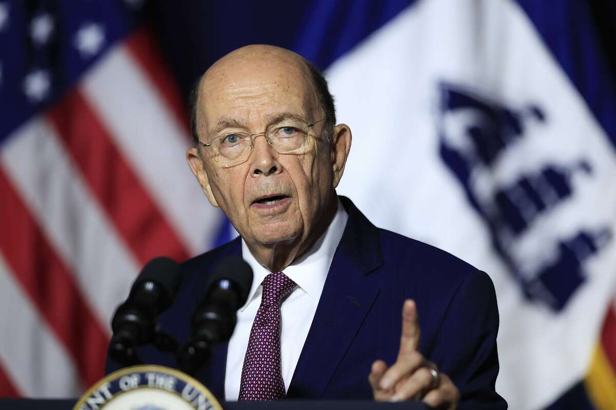 FILE - In this July 16, 2018, file photo, Department of Commerce Secretary Wilbur Ross speaks to employees of the Department of Commerce in Washington. The Supreme Court is allowing a trial over the decision to add a citizenship question to the 2020 census to go forward over the Trump administration's objection. The justices' issued a brief order Friday, Nov. 2, rejecting the administration's request to postpone the trial, set to begin Monday in New York.(AP Photo/Manuel Balce Ceneta, File)