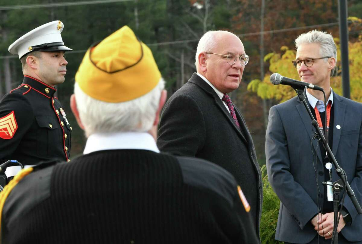 Congressman Paul Tonko speaks after a flag raising ceremony during an educational outreach initiative and Veterans Day celebration outside GLOBALFOUNDRIES Fab 8 on Monday, Nov. 12, 2018 in Malta, N.Y. The event featured both a STEM expo as well as interactive workshops including STEM activities. Ron Sampson, Fab 8 senior vice president and general manager, is seen at right. (Lori Van Buren/Times Union)
