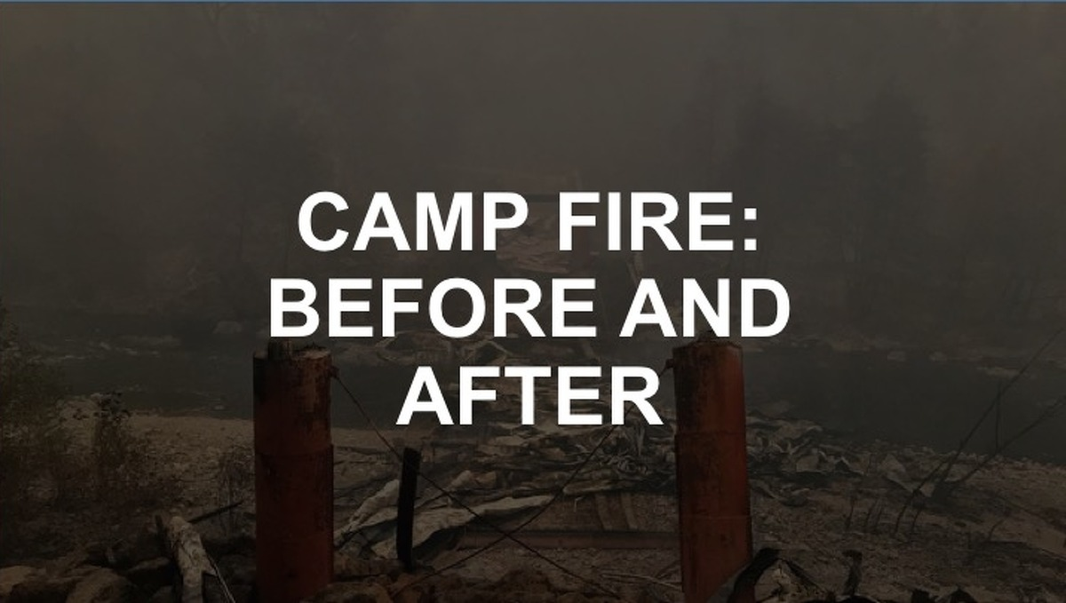 Click through the gallery to see before and after photos of Paradise, Calif. after the Camp Fire.