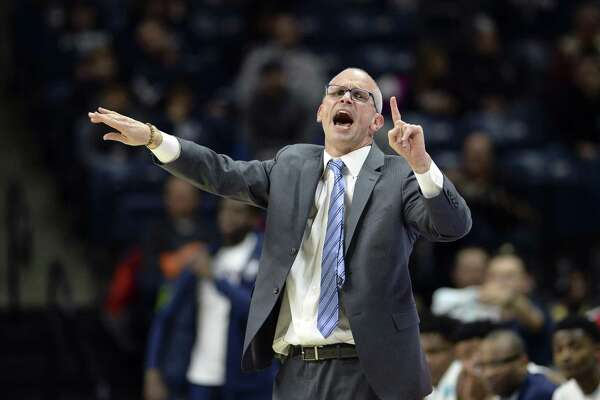 UConn coach Dan Hurley gestures on the sidelines against UMKC on Sunday.