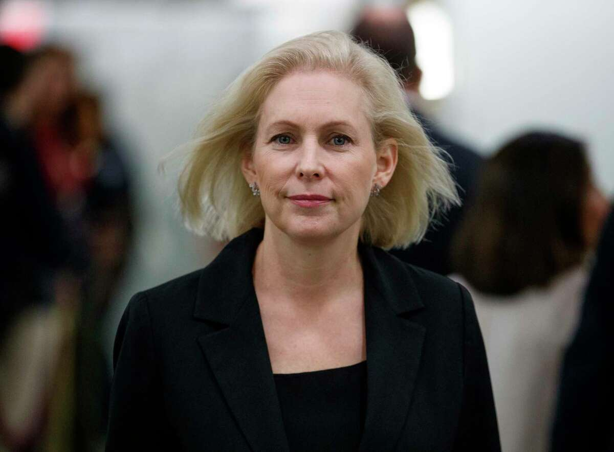 FILE- In this Sept. 27, 2018 file photo, Sen. Kirsten Gillibrand, D-N.Y., walks during a break in a Senate Judiciary Committee hearing on Capitol Hill in Washington. Gillibrand has canceled a debate Sunday, Oct. 21, 2018, against Republican Chele Farley because of a labor dispute involving the cable TV stations that were set to air the debate. Gillibrand, a Democrat running for re-election Nov. 6, said Friday, Oct. 19, 2018, she would withdraw from the Spectrum News debate because of the International Brotherhood of Electrical Workers strike against Spectrum's parent company, Charter Communications. (AP Photo/Carolyn Kaster, File)