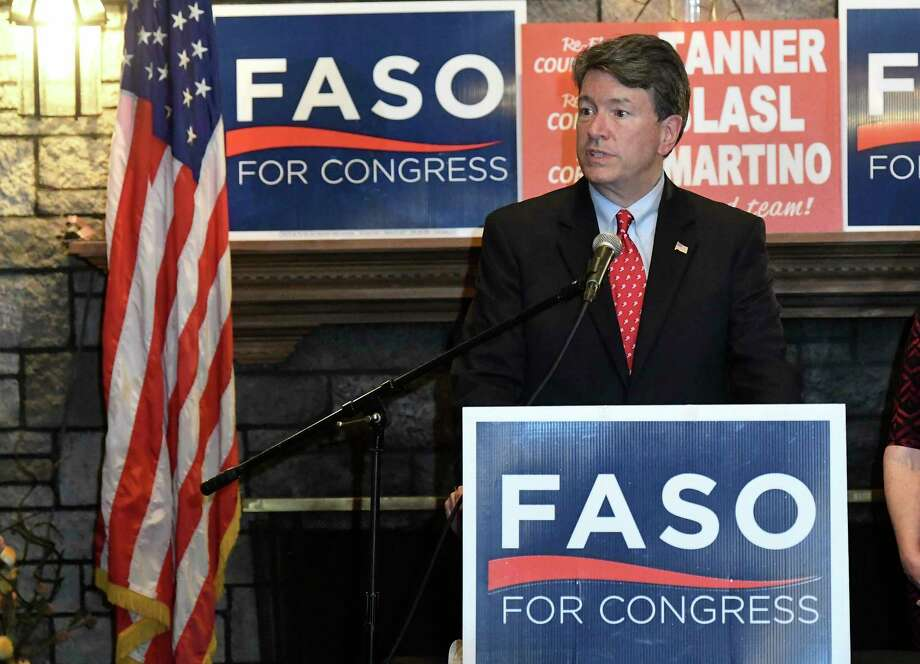 U.S. Rep. John Faso, R-N.Y., delivers his concession speech after calling Democratic candidate Antonio Delgado and congratulating him in New York's 19th Congressional District race from his Republican election night headquarters in Valatie, N.Y., Tuesday, Nov. 6, 2018. (AP Photo/Hans Pennink) Photo: Hans Pennink / Copyright 2018 The Associated Press. All rights reserved.