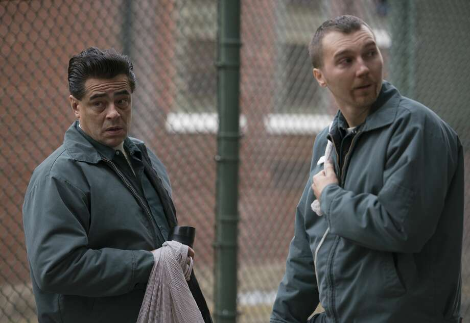 "Benicio Del Toro as Richard Matt and Paul Dano as David Sweat in ""Escape at Dannemora."" Photo: Wilson Webb/Showtime"