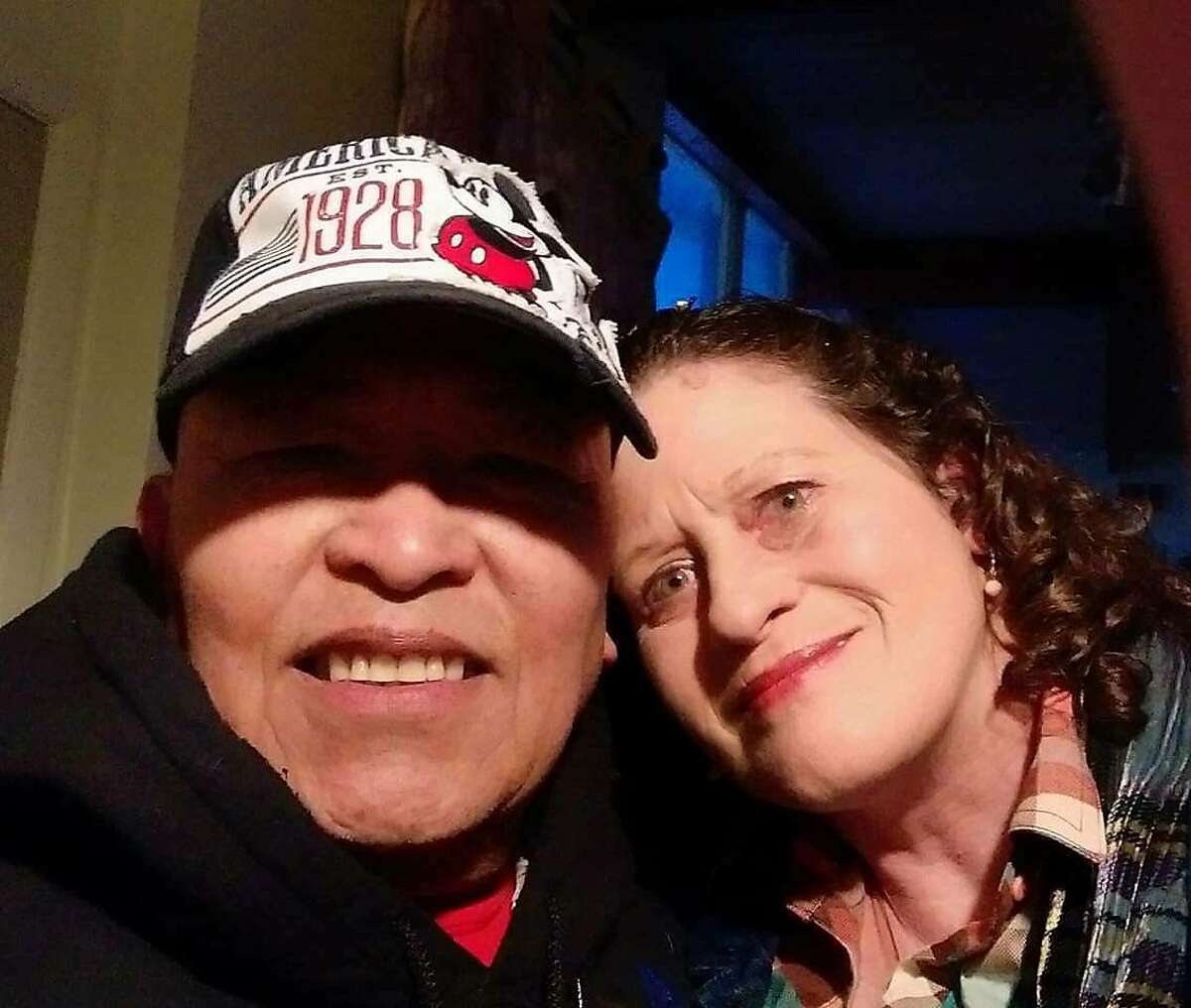 Rick and Lolene Rios are pictured together before the Camp Fire destroyed their home in Paradise. Rick suffered severe burns in the fire. Lolene is missing.