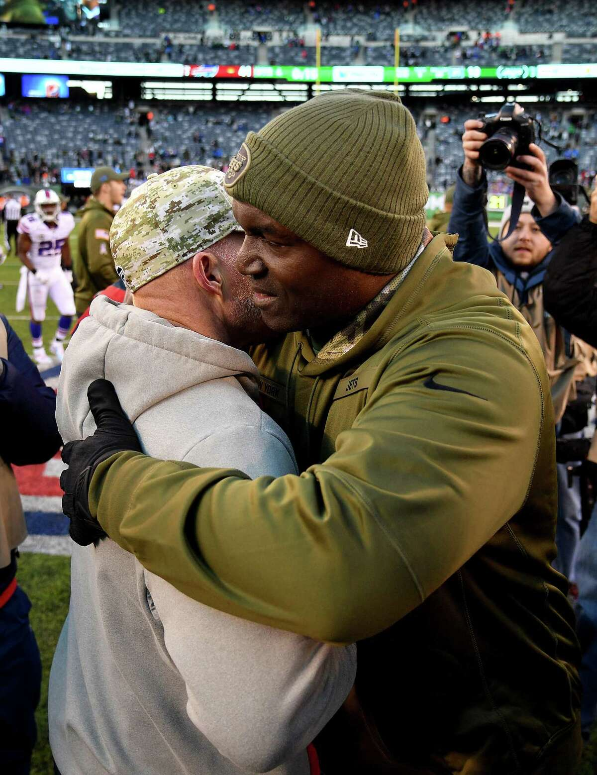 EAST RUTHERFORD, NEW JERSEY - NOVEMBER 11: Head coach Sean McDermott of the Buffalo Bills and head coach Todd Bowles of the New York Jets embrace after the Bills 41-10 win at MetLife Stadium on November 11, 2018 in East Rutherford, New Jersey. (Photo by Mark Brown/Getty Images)