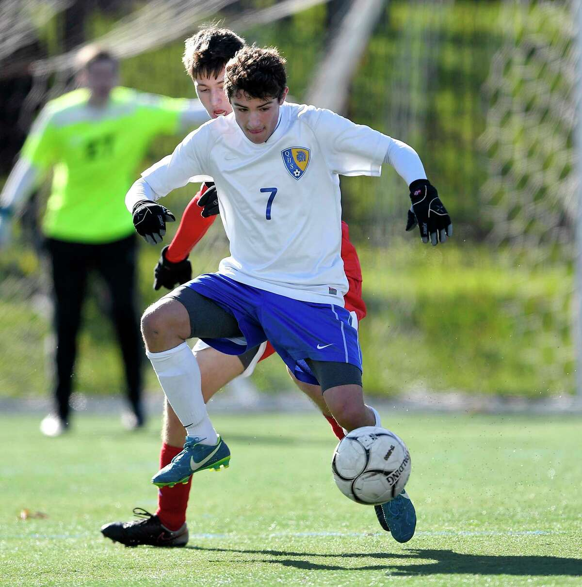 Queensbury?'s Teddy Borgos controls the ball during a Class A semifinal at the NYSPHSAA Boys Soccer Championships in Newburgh, N.Y., Saturday, Nov. 10, 2018. Queensbury's season ended with a 2-1 loss to Somers-I. (Adrian Kraus / Special to the Times Union)