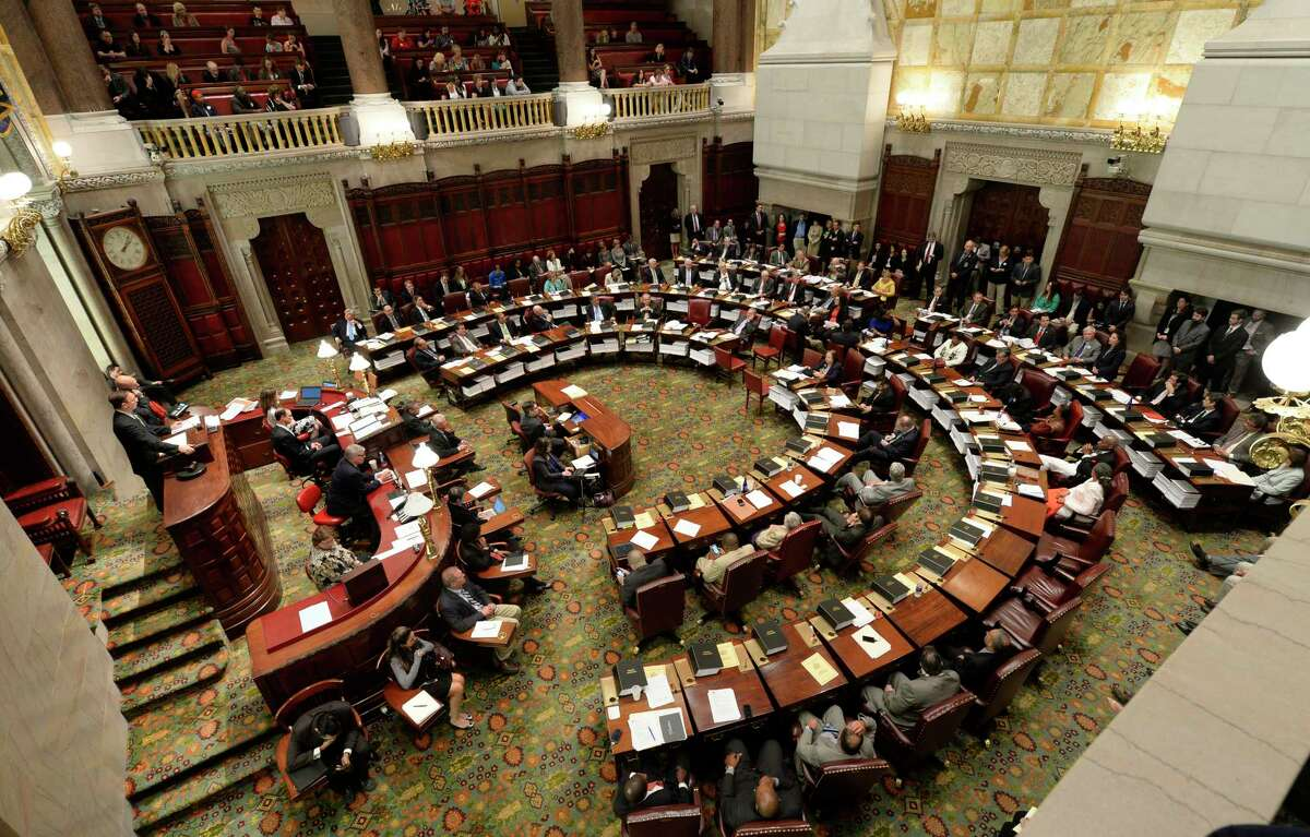 The New York State Senate Chamber was full Friday afternoon, June 20, 2014, during an extra day of session where debate was heard on the Medical Marijuana bill before it was eventually passed at the Capitol in Albany, N.Y. (Skip Dickstein / Times Union)