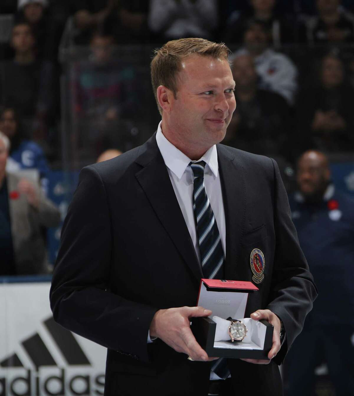 TORONTO, ONTARIO - NOVEMBER 11: Hall of Fame inductee Martin Brodeur is honored prior to the 2018 Hockey Hall of Fame Legends Classic Game at the Air Canada Centre on November 11, 2018 in Toronto, Ontario, Canada. (Photo by Bruce Bennett/Getty Images)