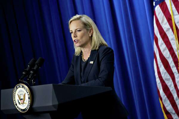 Homeland Security Secretary Kirstjen Nielsen, seen here in July, has been reluctant to leave the administration before reaching the one-year mark as secretary on Dec. 6, but she has been unhappy in the job for several months, according to colleagues.