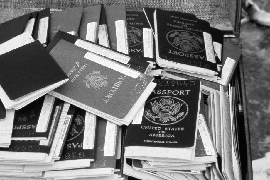 Stack of U.S. passports that belonged to members of the Peoples Temple. Photo: Uncredited, AP