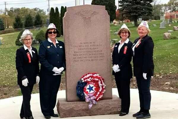 Thumb Chapter 178 Blue Star Mothers who attended the monument rededication. They are (from left): Grace Rosenthal, Sherry Kramer, Blue Star Mothers state president; Marcia Janik, Thumb Chapter 178 president; and Lynne Tschirhart. (Submitted Photo)