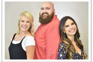 The hosts of the millennial morning radio show Joe & Alex are, from left, Liv the Web Girl, Joe Pesh and Alex Clark.