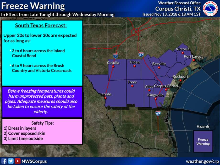 A freeze warning has been issued by the National Weather Service for Laredo and surrounding areas from late Tuesday night into Wednesday morning. Photo: National Weather Service