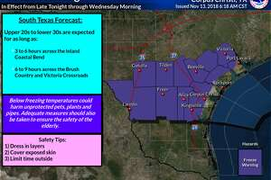 A freeze warning has been issued by the National Weather Service for Laredo and surrounding areas from late Tuesday night into Wednesday morning.