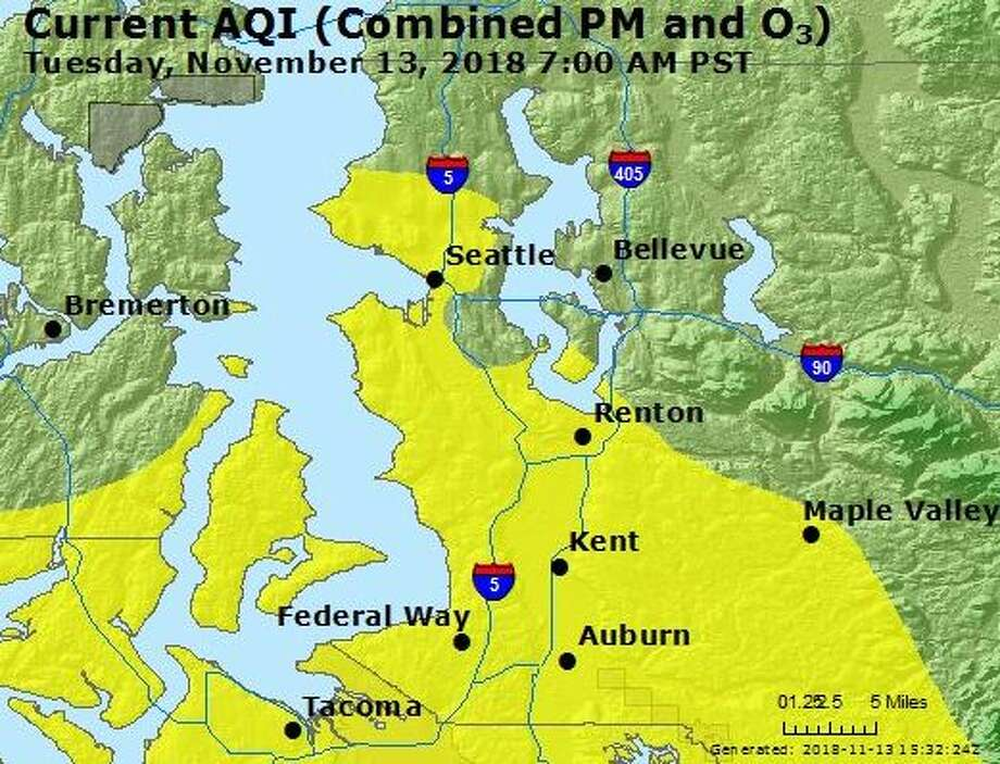 "Air quality levels declined to ""moderate"" in much of western Washington Tuesday morning. Photo: Courtesy AirNow"