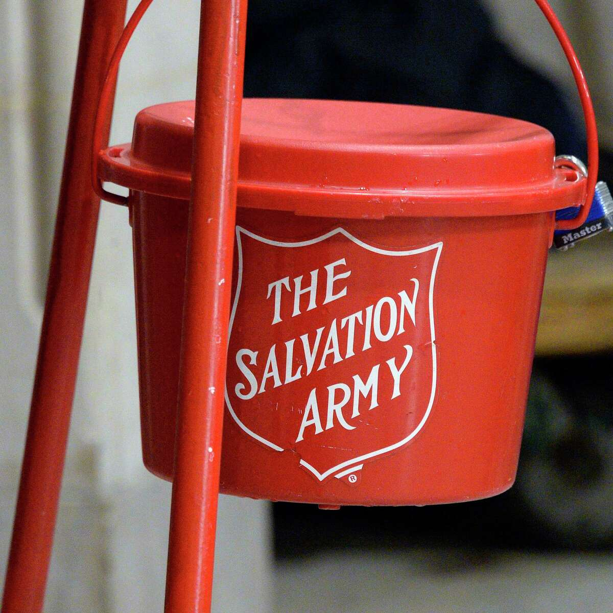 A Salvation Army red kettle during a ceremony at City Hall to launch their Annual Red Kettle Campaign Tuesday Nov. 13, 2018 in Albany, NY. (John Carl D'Annibale/Times Union)