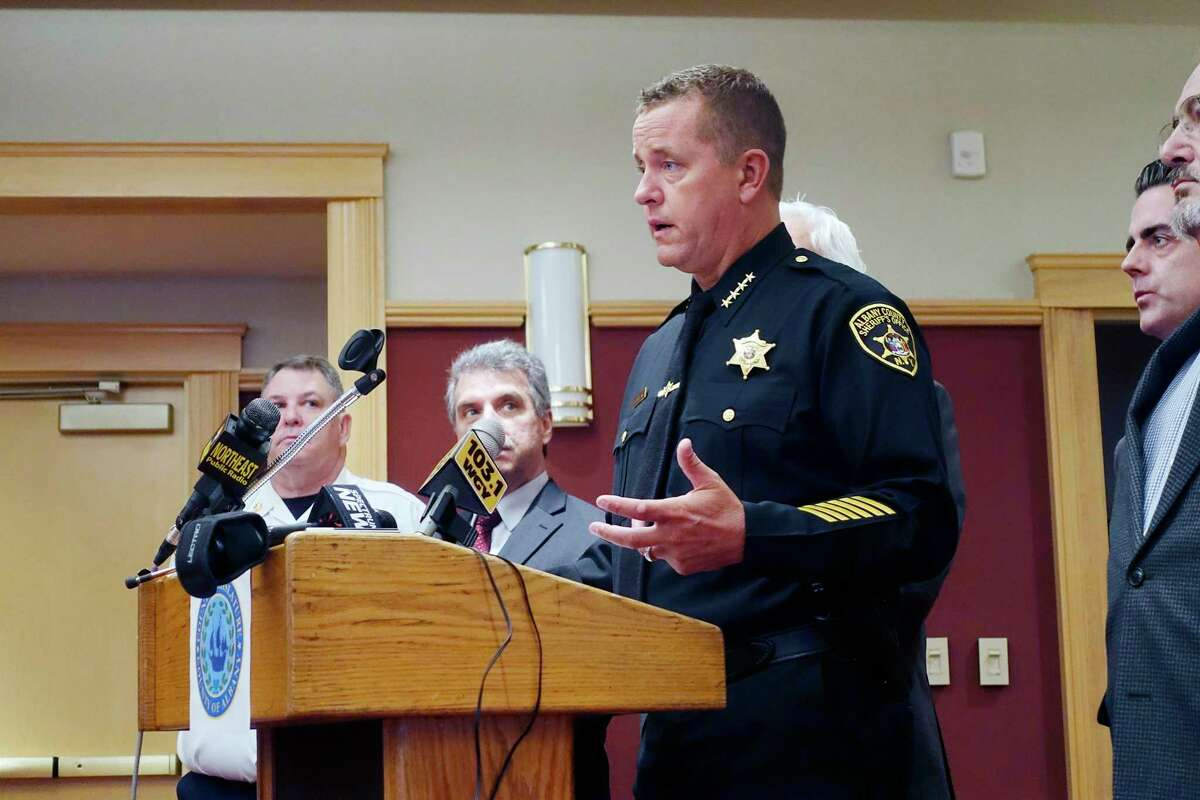 Albany County Sheriff Craig Apple talks about poor cellular service during a press conference at the Shaker Road Loudonville Fire Department on Tuesday, Nov. 13, 2018, in Colonie, N.Y. The press conference was held to discuss plans to try to deal with the issue of poor cellular service in some areas of Colonie. (Paul Buckowski/Times Union)