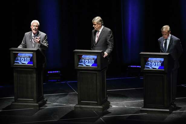 Independent candidate Oz Griebel, left, spoke, while Republican candidate Bob Stefanowski, center, and Democratic candidate Ned Lamont, right, listened during a recent debate in the governor's race. Sacred Heart University on Wednesday night will host a discussion of the race. It will begin at 7 in the Martine Forum, 5401 Park Avenue in Fairfield, and is free and open to the public.