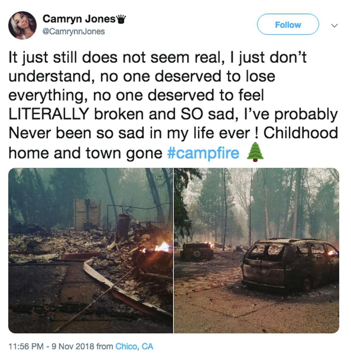 @CamrynnJones shared a photo on Friday, Nov. 10, 2018 of her childhood home that was destroyed from the Camp Fire.