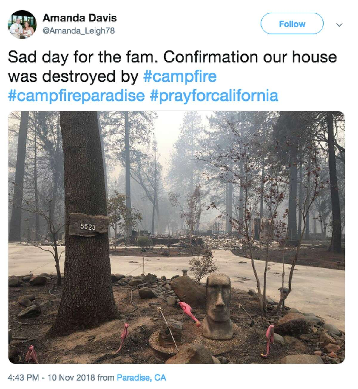 @Amanda_Leigh78 tweeted a photo of her destroyed home on Saturday, Nov. 10, 2018 after the Camp Fire.