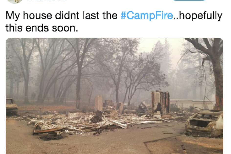 People tweet their destroyed homes after the Camp Fire.