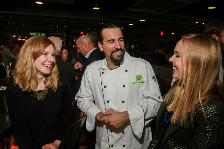 EMBARGOED FOR REPORTER UNTIL MONDAY NOV 12  Ashley Horne, from left, chef Casey Guhl, and Kasi Chadwick at the Urban Harvest dinner.