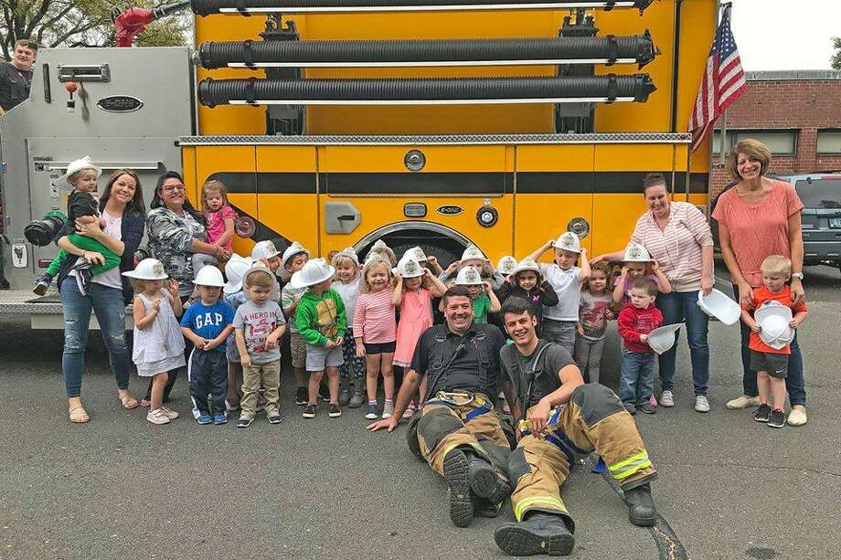 In early October, Haddam fire crews visited five area schools to raise awareness about fire prevention and safety. They met children at Young Horizons Daycare, Cougar Cubs Daycare, Haddam Co-Op Nursery School, Haddam Elementary School and Burr Elementary School. Photo: Olivia Drake Photo