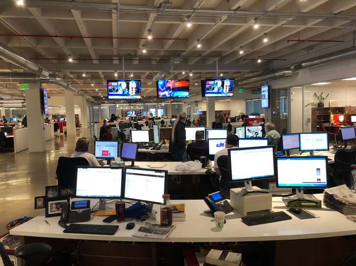 The Houston Chronicle newsroom during the midterm elections in 2018