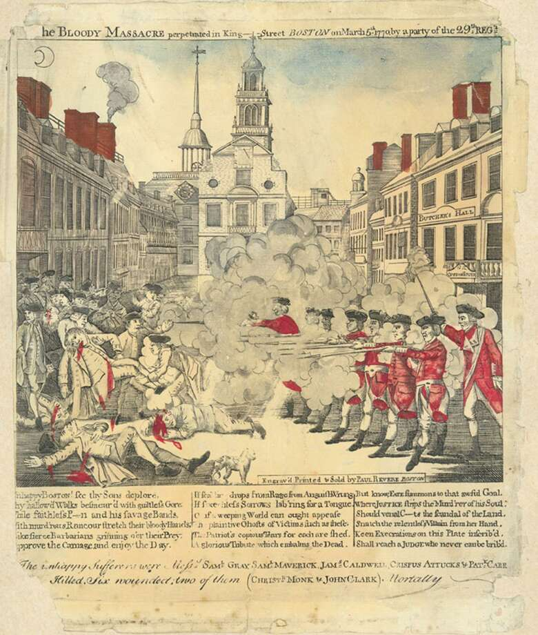 """The Bloody Massacre perpetrated in King-Street Boston on March 5th 1770,"" engraved and printed by Paul Revere. Photo: Connecticut Historical Society"