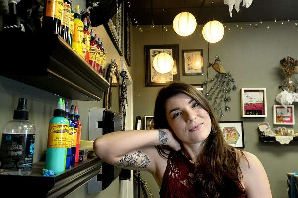 Kailee Viator is apprenticing under mentor Cara Edgar at Javelina Tattoo Studio in Beaumont. The multi-media artist says tattooing is like adding another medium to her skill set. Photo taken Friday, November 9, 2018 Kim Brent/The Enterprise