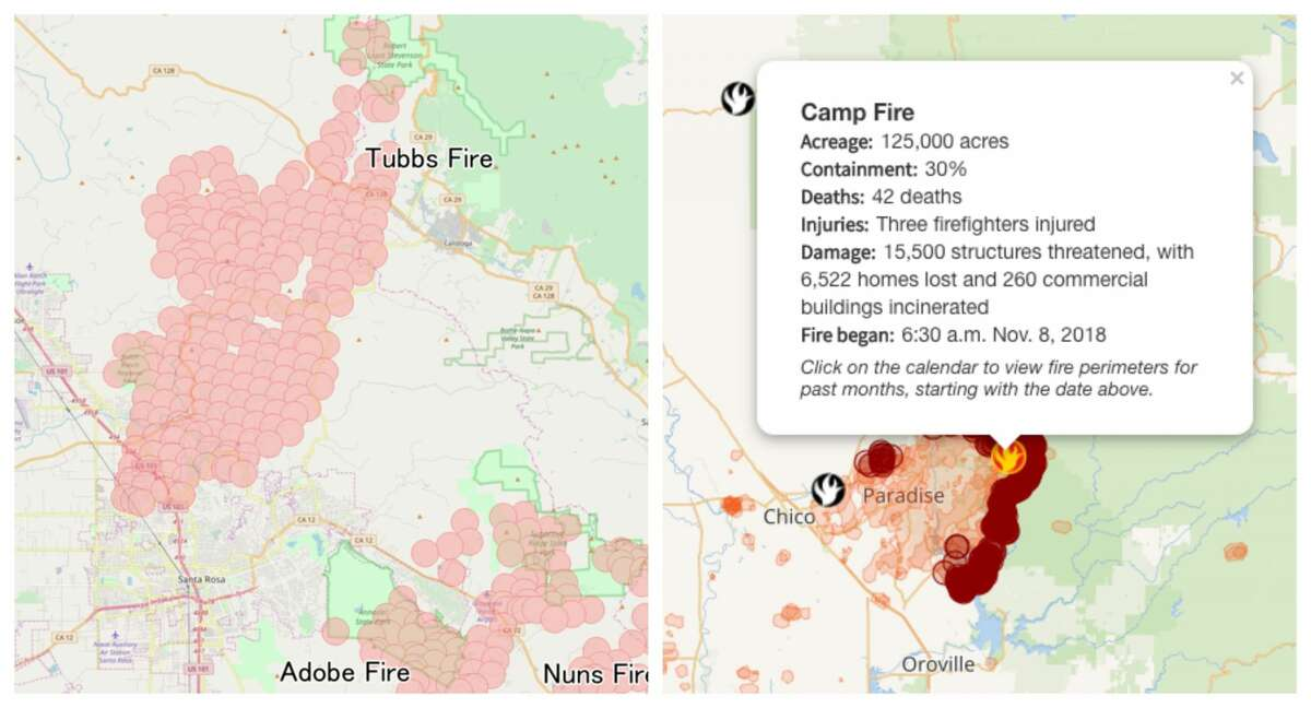 Acreage Tubbs Fire: 36,807 acres in 23 days (Oct. 8-31) Camp Fire: 138,000 acres in seven days (Nov. 8-14)